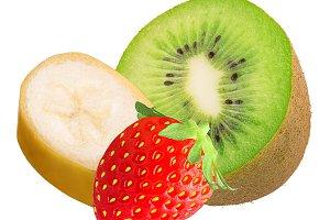 Mix fresh fruits isolated on white b