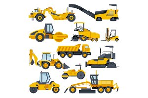 Excavator road construction vector