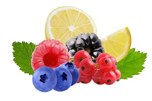 Isolated mixed fruits isolated on wh