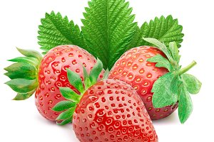 Strawberries with leaves isolated on