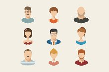 People icons, people avatars, flat