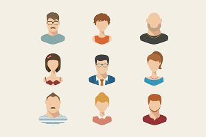 People icons, people avatars, flat