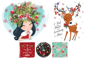 Christmas and new year cute pattern