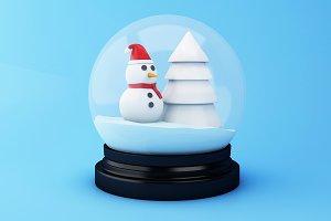 3d Snow globe with Christmas Tree an
