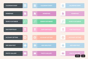 Pastel flat web button vector