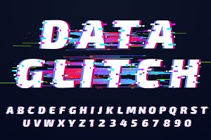 Glitch Alphabet and Effects vectors