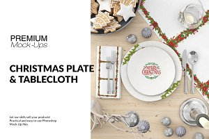 Christmas Plates &Tablecloth Set