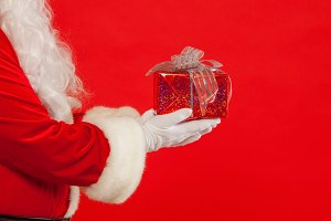Photo of Santa Claus gloved hand