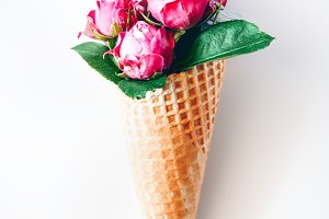 Roses in a waffle cone