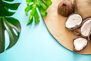 colorful summer with coconuts and be