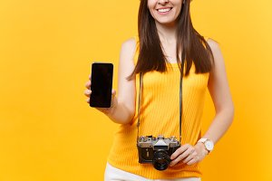 Cropped tourist woman holding mobile