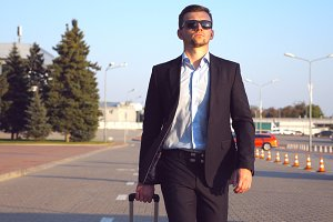 Young successful businessman in