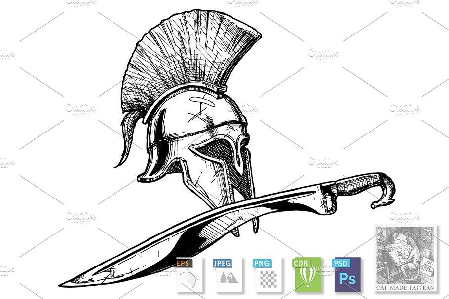 0a1d9fb24 Corinthian helmet and kopis sword ~ Illustrations ~ Creative Market