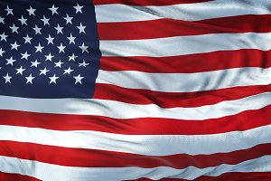 USA Realistic Waving Flag Background