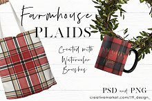 Seamless Watercolor Farmhouse Plaids by  in Patterns
