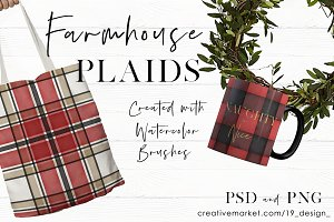 Seamless Watercolor Farmhouse Plaids