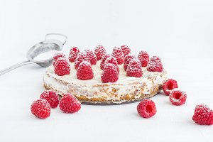 Raspberry pie with cream