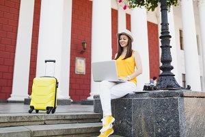 Pensive traveler tourist woman in ca