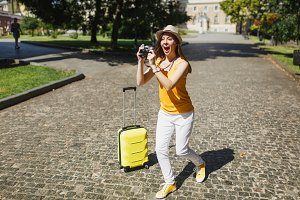 Shocked traveler tourist woman in ye