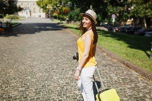 Beautiful traveler tourist woman in