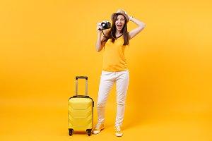 Excited tourist woman in summer casu