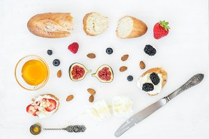 Cheese, bread and berries set