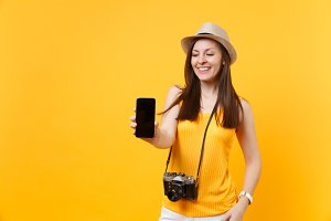 Traveler tourist woman holding mobil
