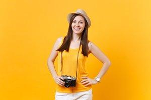 Happy traveler tourist woman in summ