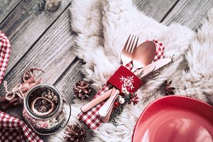 Christmas dinner cutlery with decor