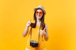 Fun tourist woman in summer casual c
