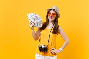 Tourist woman in summer casual cloth