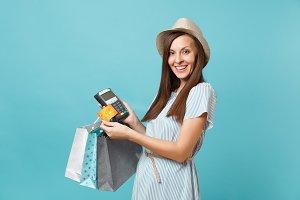 Portrait woman in dress, hat holding