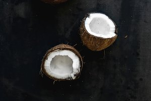 Whole and broken coconuts