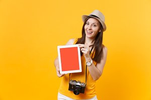 Traveler tourist woman holding table
