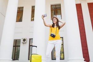 Traveler tourist woman doing take se