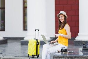 Young traveler tourist woman in casu