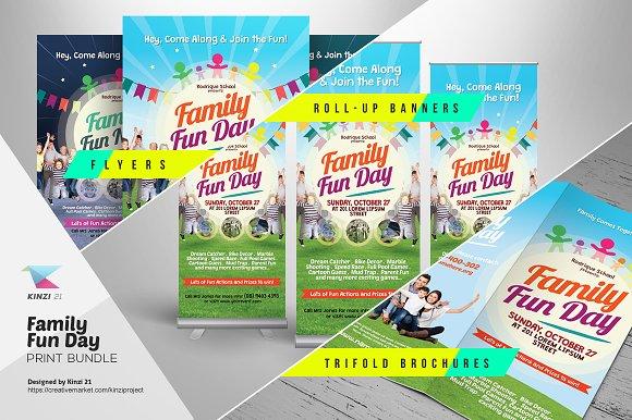 family fun day print bundle flyer templates creative market
