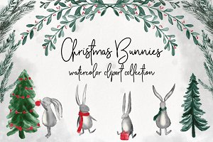 Christmas Bunnies Watercolor Clipart
