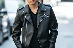 Hipster man wearing style leather