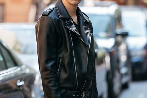 Man in black style leather outfit