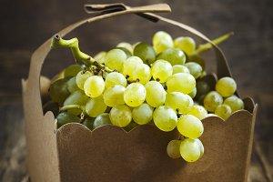 Fresh mini grapes in basket