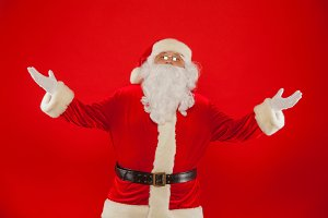 santa claus with hands up Merry