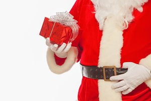 Photo of Santa Claus gloved hands