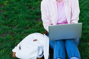attractive freelancer using laptop a