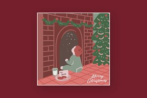 waiting for christmas illustration