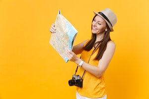 Traveler tourist woman in summer cas