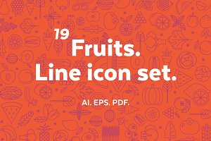 Fruits. Line icon set.