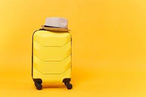 Traveler tourist suitcase trunk lugg