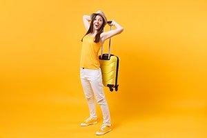 Traveler tourist woman in summer cas