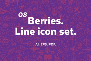 Berries. Line icon set.